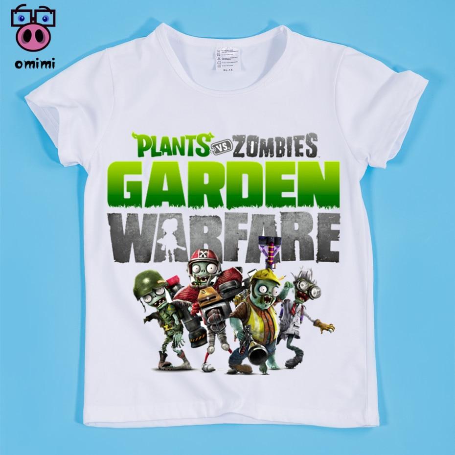 Kinder Pflanzen Vs Zombies 2 Garten Warfare Druck T-shirts Kinder Zombies Lustige Comic Tops T Jungen und Mädchen Spiel kleidung, OM006