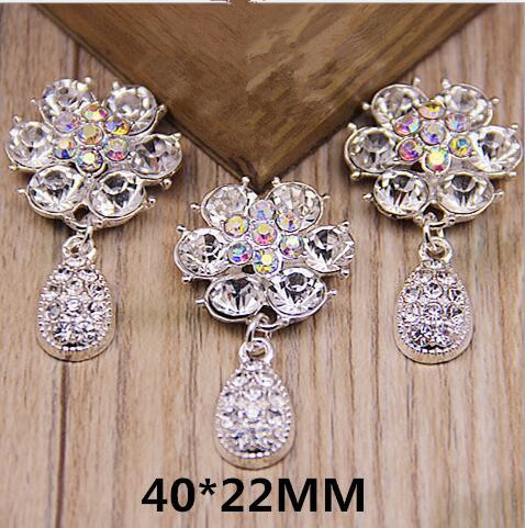 5Pcs 40*22MM Flower Rhinestone Button Flatback Crystal Flower Embellishments With Rhinestone Pendant