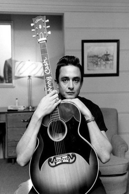 0502 Johnny Cash Young Guitar BW Music Wall Sticker Art Poster For Home Decor Silk