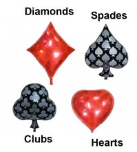 4PC 24inch Clubs Diamonds Spades Hearts 35 Foil Balloon Casino Cards Dice Poker Party Supplies Decorations Playing