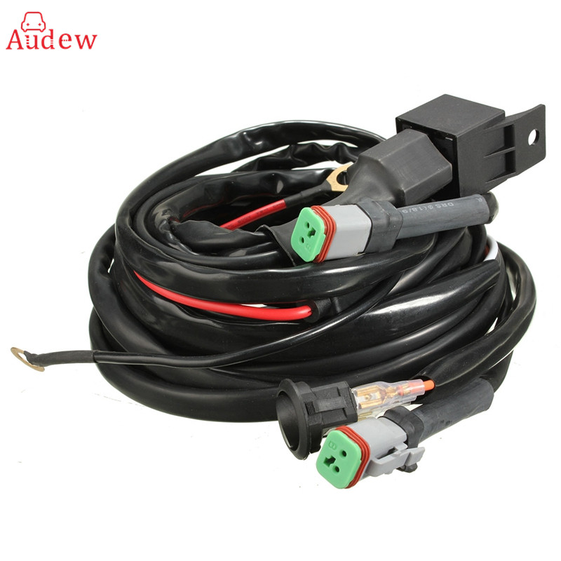 Car Wiring Harness LED Work Driving Light Wiring Harness Kit Fog Spot Work Light 2.5m Length 12V 40A Switch Relay