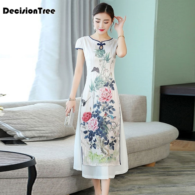 2019 summer vietnam ao dai qipao traditional dress qipao cheongsam dresses cotton linen robe chinoise aodai pieces suit