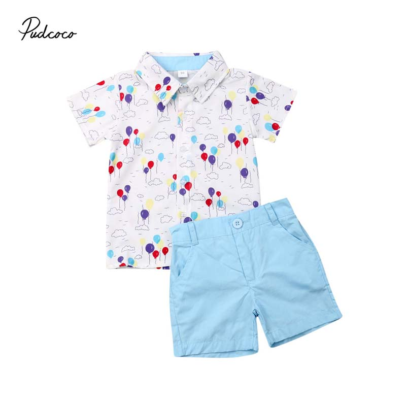 US Toddler Kids Baby Boy Gentleman Clothes Shirt Tops+Short Pants Formal Outfits