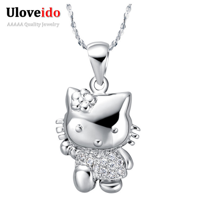 50% off Fashion Necklaces for Women 2017 Cute Bijouterie Silver Crystal Pendant Necklace Jewelry Gift Wholesale Uloveido N607
