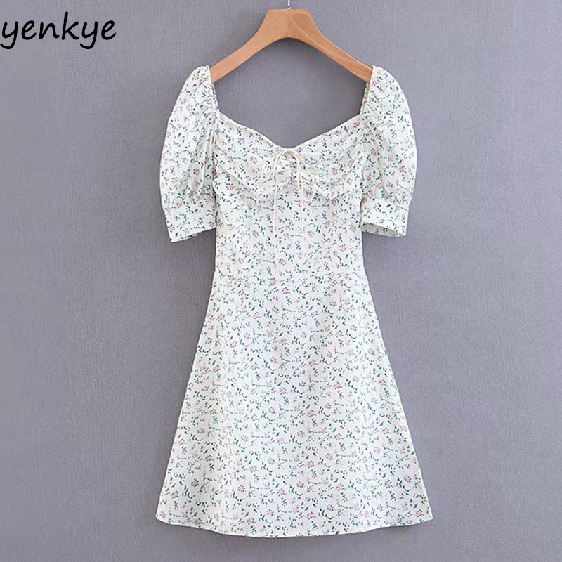 Summer Dress 2019 Women Sweet Floral Print Dress Lady Front Drawstring Draped Collar   Short Sleeve A-line Mini Dress  LJPZ8847