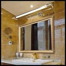 Европа Стиль Vintage Переключатель LED на передней свет Зеркала Темно-Бронзовый Хром Загородном Коричневый Ванная Комната, душ зеркало настенный светильник освещения