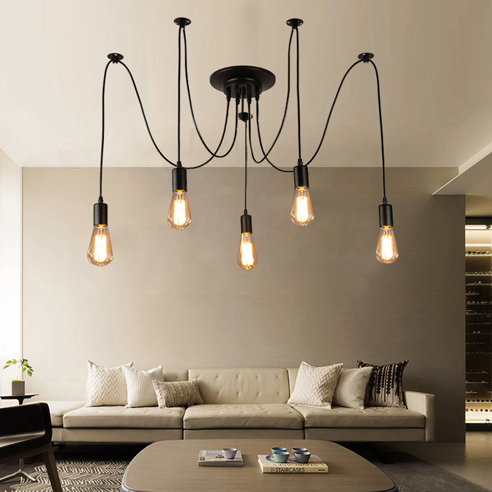 Vintage Loft Nordic Spider Pendant Lamps Adjustable Swag Lights Holder Set Edison Chandelier Light DIY Ceiling Lamp Holder nordic vintage chandelier lamp pendant lamps e27 e26 edison creative loft art decorative chandelier light chandeliers ceiling