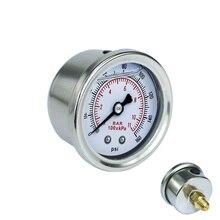 Fuel Pressure Gauge Liquid 0-160 psi Oil Press White Face Universal 1/8 NPT  YC100917