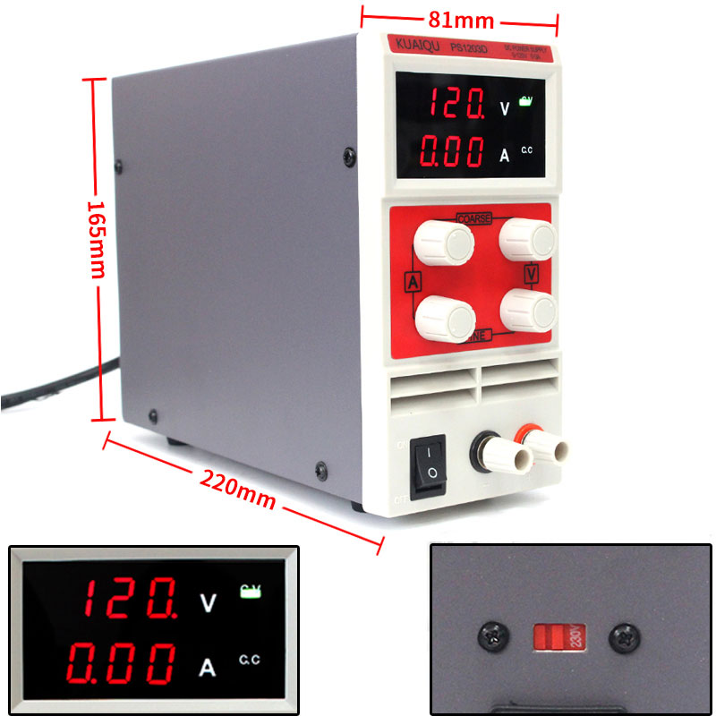2017 Promotion Red PS1203D Portable Adjustable Digital DC power supply ,120V 3A ,110V-220V Switching Power supply cps 6011 60v 11a digital adjustable dc power supply laboratory power supply cps6011