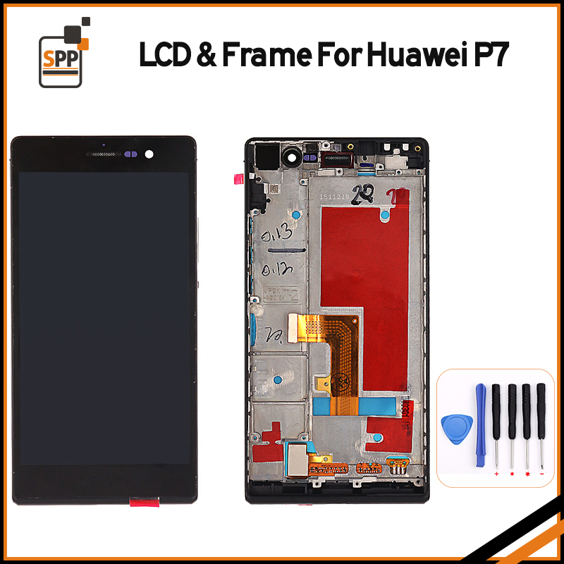 LCD Display Touch Digitizer Assembly for Huawei Ascend P7 LCD Screen Repair Black White Pantalla Replacement with Frame+tool  top quality full lcd display touch screen digitizer assembly for huawei ascend w1 u00 c00 w1 replacement white
