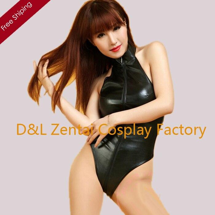 Free Shipping DHL Sexy Fancy Dress Adult Black Shiny Metallic Unitard One Piece Zentai Catsuits Front