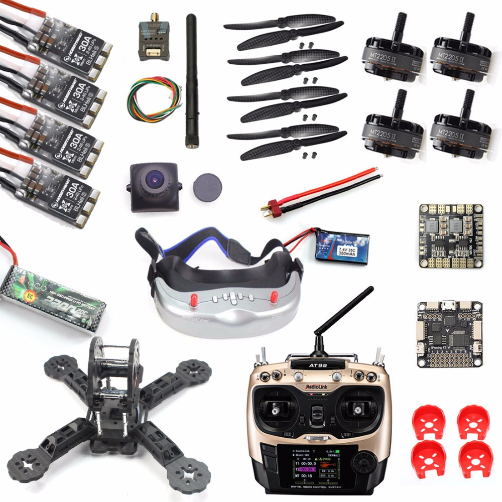 DIY RTF Racer 190 FPV Drone F3 Flight Controller AT9S FS-I6 Transmitter Camera GOGGLE Glass RC Multicopter Helicopter F18893-Q
