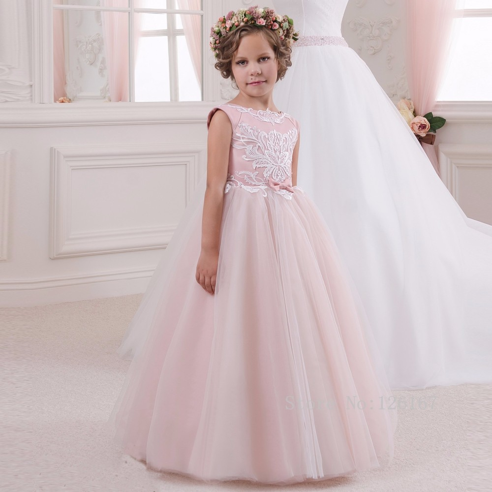 ФОТО Pink Long Ball Gown First Communion Dresses Lace Appliqued Bow Flower Girl Dresses for Weddings Children Pageant Gowns Custom