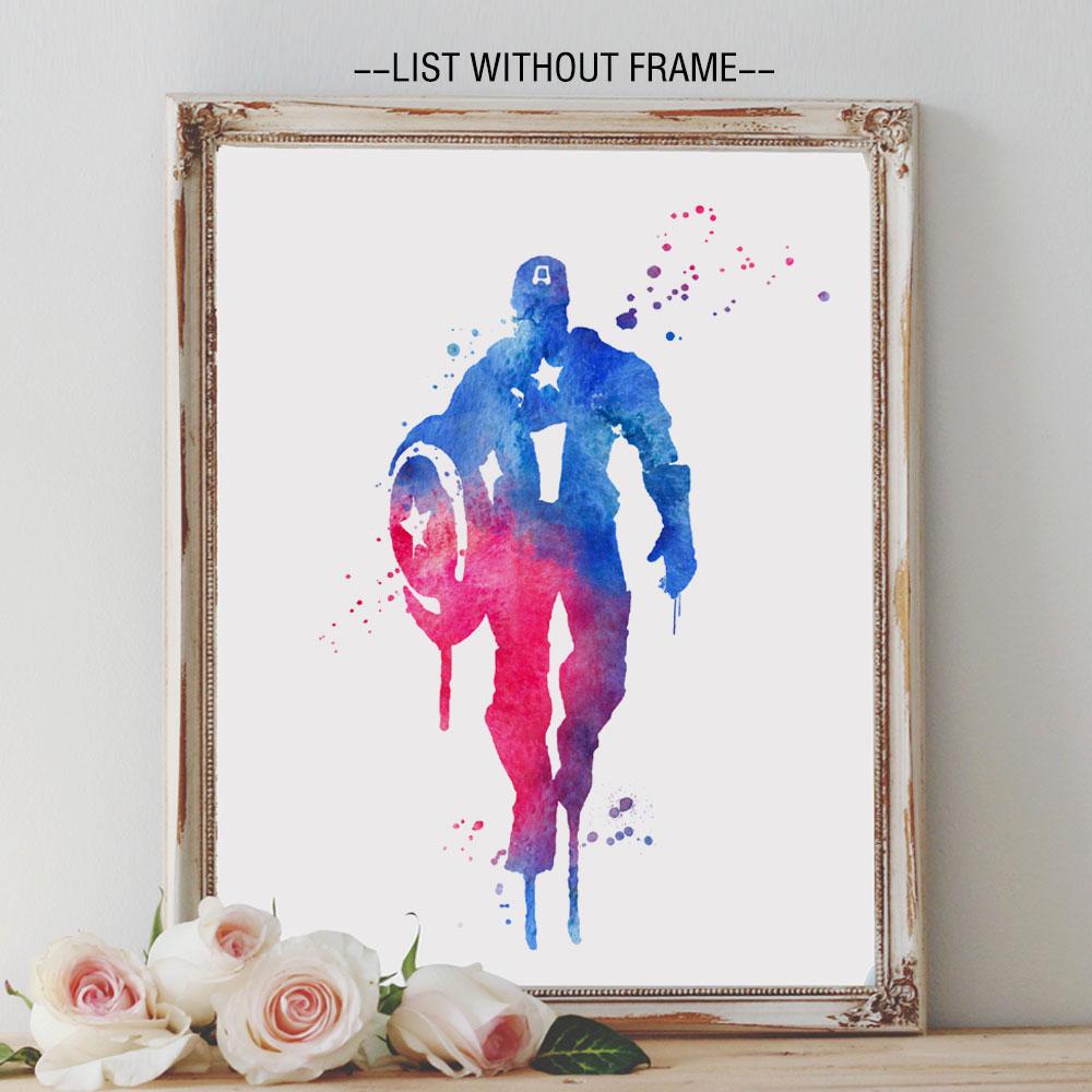 Captain America Art Paint Watercolor Design Wall Hanging