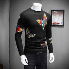 Quality Knitted Sweater Men Fashion 2017 Butterfly Print Pullover Men Round Collar Slim Fit Long Sleeve Casual Men Jumpers 4XL-M