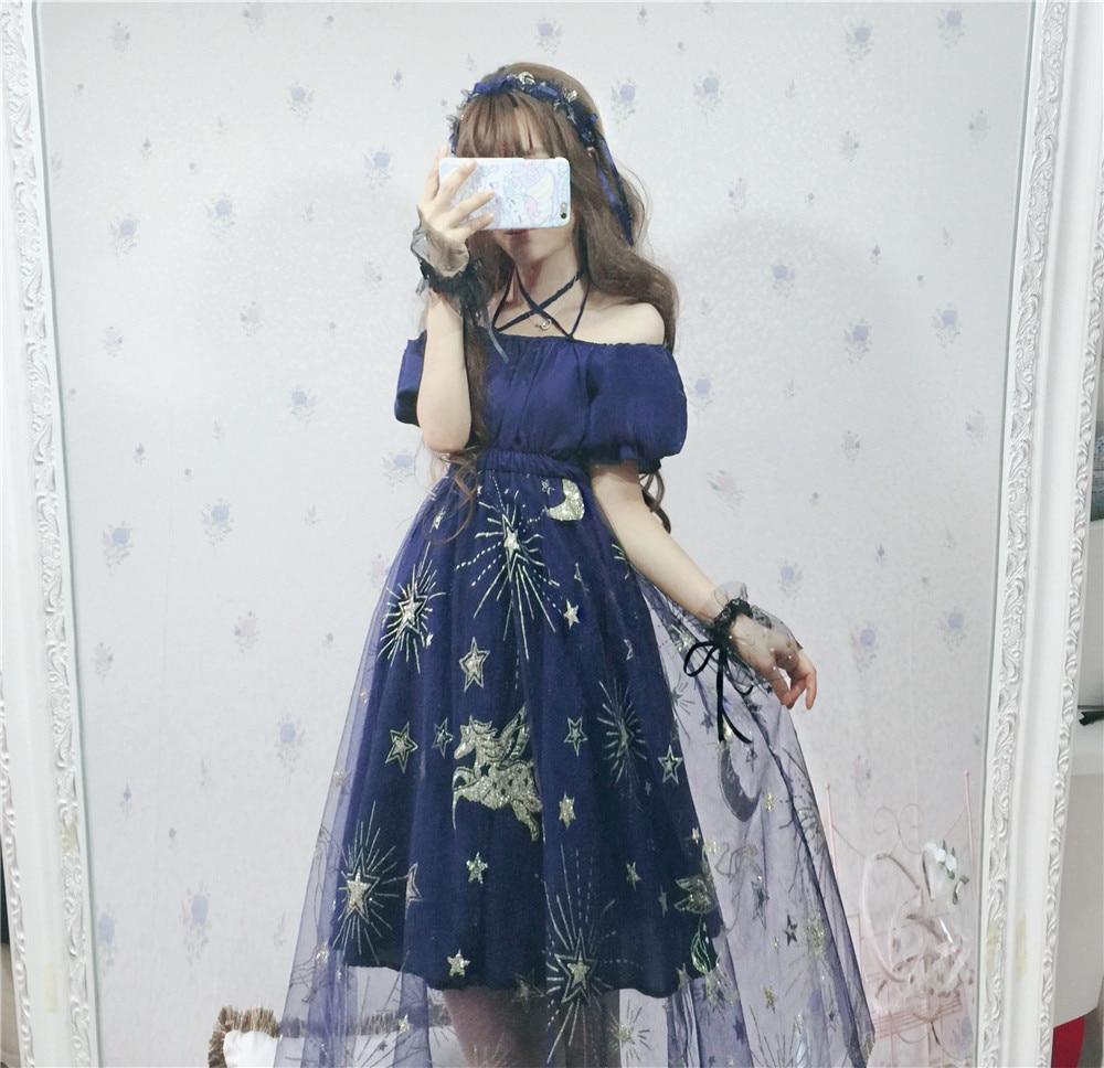2018 Summer Harajuku Cross straps gauze dress Slash neck collar Dream dress Pegasus Starry Sky