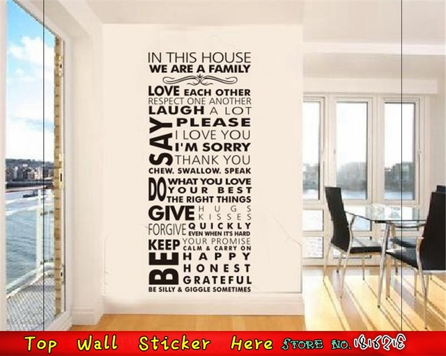 House Rules Large Home Wall Stickers DIY VINYL Decals Decoration Wallpaper Paste For Living