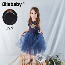 Christmas Fluffy Girl Sweet Casual Dress Baby Pink Gray Tulle Tutu 1 2 3 4 5 6 Years Girls Star Sequin Clothing