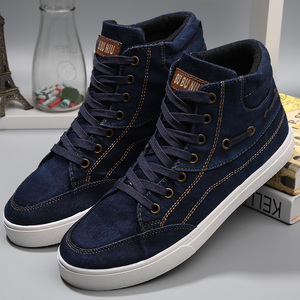 Image 3 - Mens denim footwear wear resistant fashion high top sneakers casual shoes men lace up 2019 hot brand shoes black
