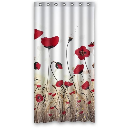 Custom Shower Curtain Flower Tulip Field Waterproof Fabric Bathroom 36 X 72