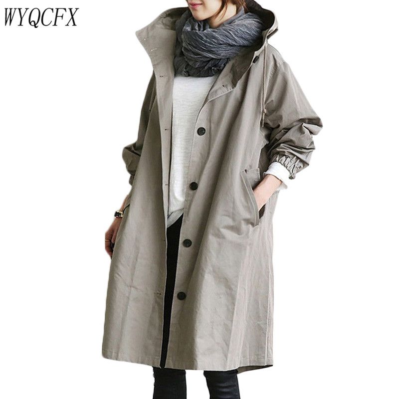 Spring Autumn Women Long   Trench   Coat Casual Full Sleeve Overcoats Single Breasted Hooded Plus Size Windbreaker 2019 New Clothing