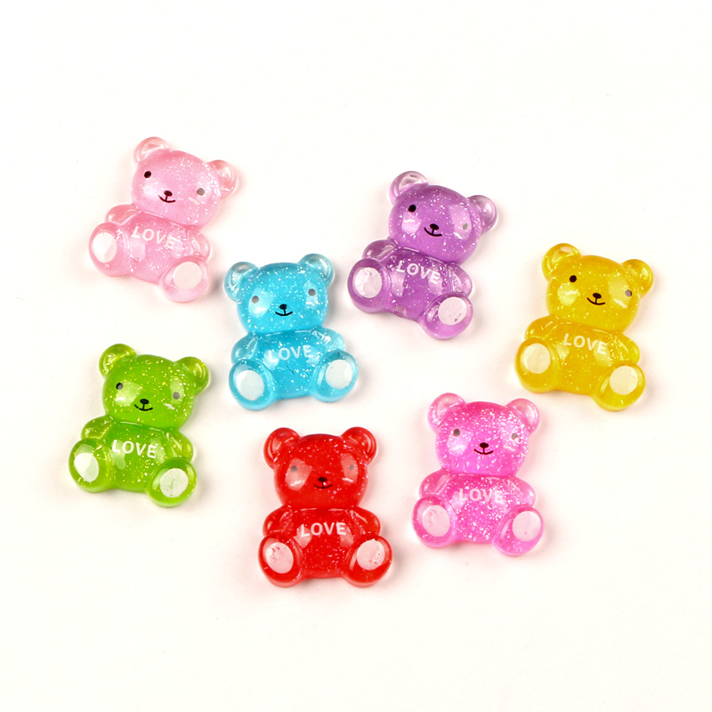 50pcs Mixed Resin Bear Flatback Cabochon Jewelry Findings Scrapbooking For Jewelry Making Charms Pendants Accessories Diy
