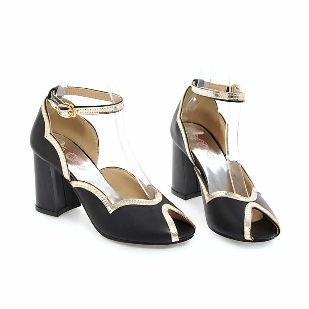 ASUMER שחור ורוד אופנה בוהן ציוץ אבזם אלגנטי אביב סתיו נעלי אישה כיכר העקב נשים נעלי חתונה עקבים גבוהים