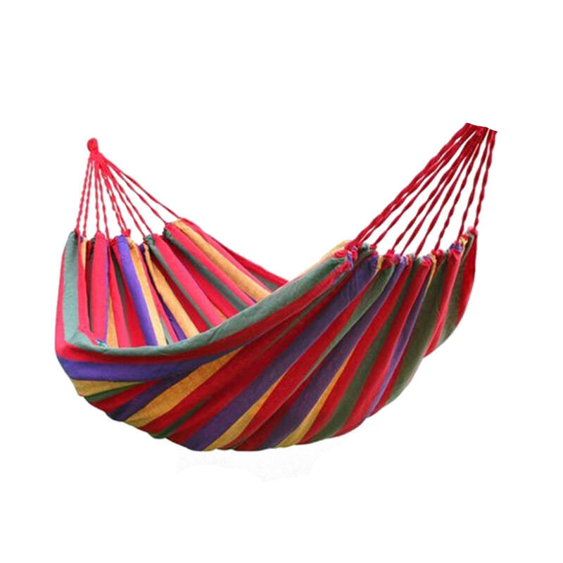 Single Hammock Adult Outdoor Travel Camping Survival Hunting Leisure canvas Rainbow Hammock Ultralight with backpack
