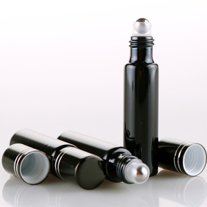 Image 5 - 100 Pieces/Lot 10ML Refillable Black UV Glass Perfume Bottle With Roll On Empty Essential Oil  Vial For Traveler