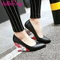 Vallkin 2017 sexy cuñas del alto talón de las bombas del resorte del otoño Zapatos de plataforma Blanca Punta estrecha Mujeres Zapatos de Boda de Gran Tamaño 34-43