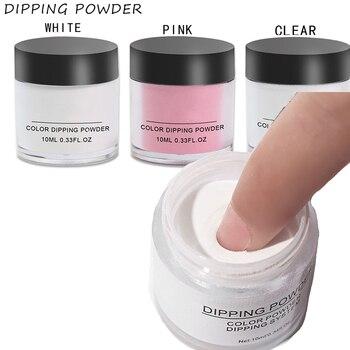 Bulk Dip Nail Powder -10ml 3color white,clear,pink Lasting than UV Nail Gel Polish Dipping Powder Nail system 1PCS Dust powder