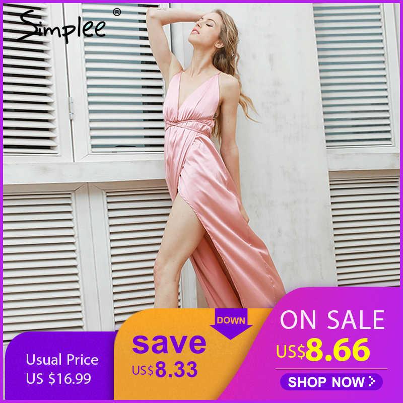 Летнее женское длинное платье Simplee, с открытой спиной и разрезом, элегантное вечернее атласное платье макси в стиле пижамы, несколько цветов