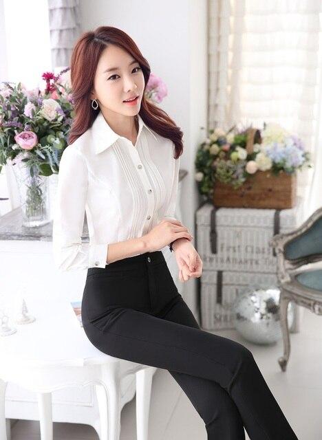 Estilo Uniforme Mujeres Trajes de Negocios Formal Tops Y Pantalones de Trajes de Ropa de Trabajo de Oficina Con Blusas Mujer Pantalones Trajes Set