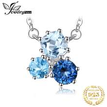JewelryPalace 1.7ct Genuine Multi London Blue Topaz Pendant Necklace 925 Sterling Silver 45cm Box Chain Women Fashion Jewelry(China)