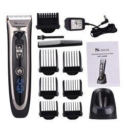 High Precision Professional Hair Clipper Titanium Ceramic Blade Rechargeable Hair Trimmer LED Electric Hair Cutting Machine P34