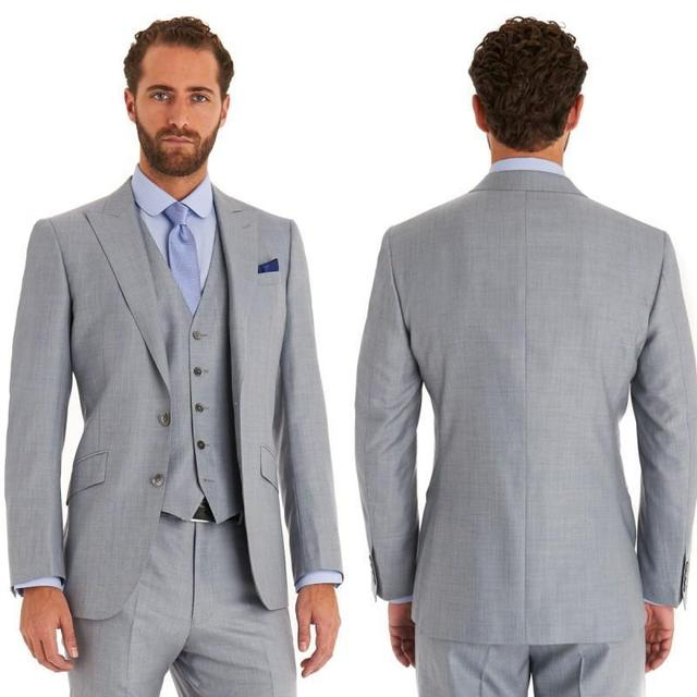 2018 Italian blue groom wear suits Jacket+Pants+Vest a set wedding ...