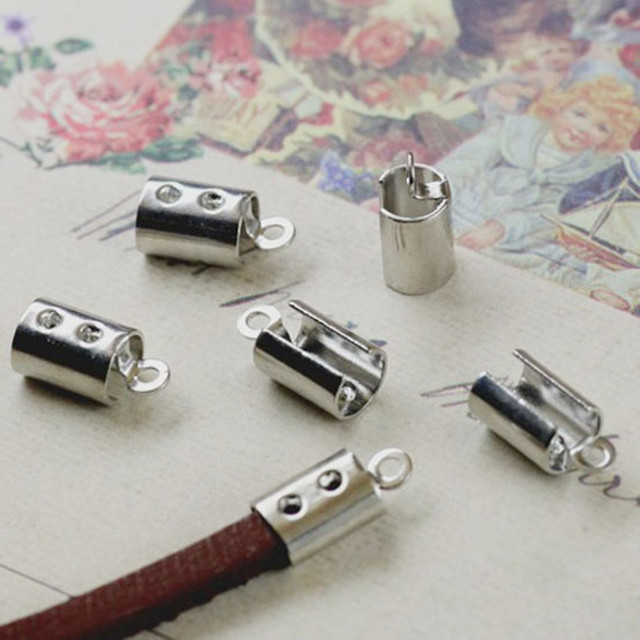 868511fd29 100pcs End Caps/end fasteners fits 4mm leather Cord Crimp Beads Fastener  Clasps For DIY