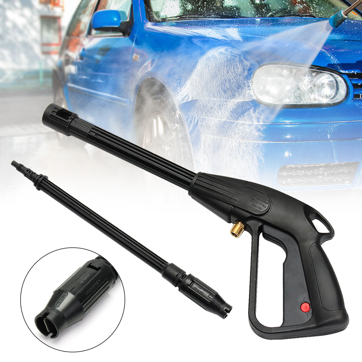 High Pressure Power Washer Spray Nozzle Adjustable Water Gun Home Washing Accessories CX001B for Car Garden Cleaning 465mm high pressure washer for car washer spray cleaner garden watering nozzle water jet gun car cleaning washing tools
