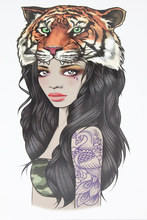 Girl With Tiger Head Tattoo 21 X 15 CM Sized Sexy Cool Beauty Tattoo Waterproof Hot Temporary Tattoo Stickers