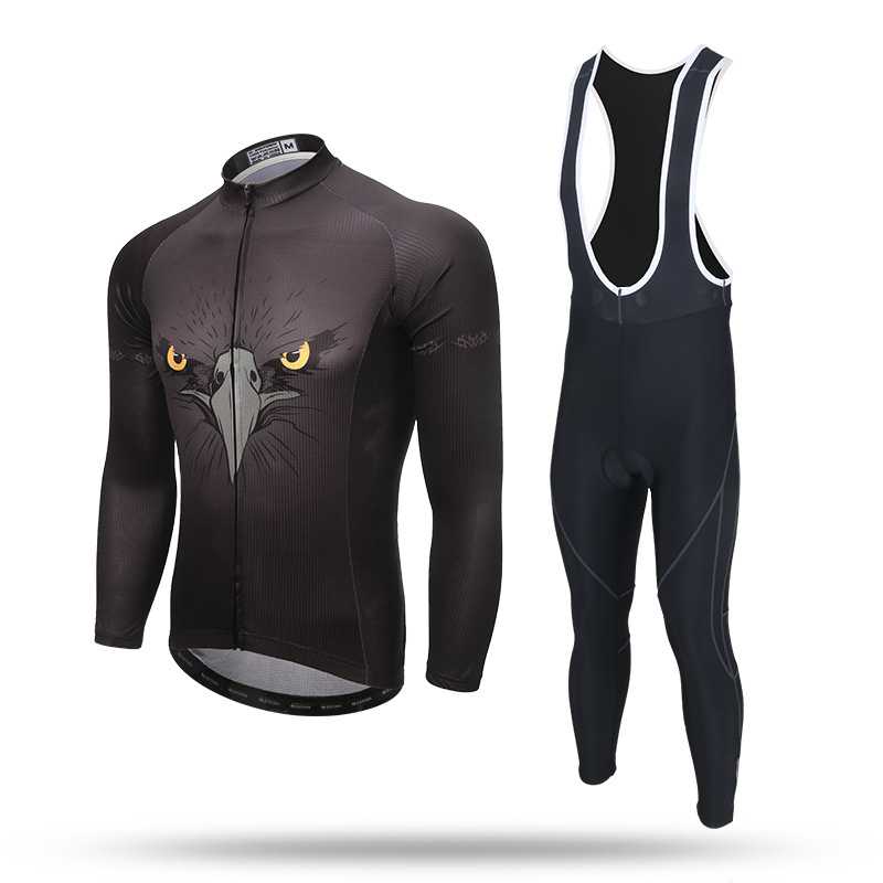 New Long Sleeve Cycling Sets Eagle Black Anti-sweat Jersey and GEL Pad Bib Pants Trousers MTB Bike Bicycle Jersey Suit Ciclismo 2015 fdj cycling jersey quick dry cycling sets short sleeve jersey and 3d gel bib short with sleeve breathable bicycle wear