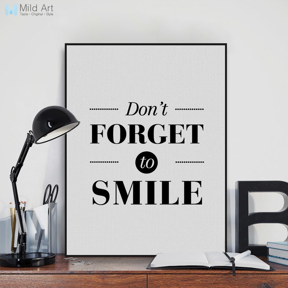 Minimalist Book Cover Quotes ~ Minimalist black white motivation smile quotes large canvas poster