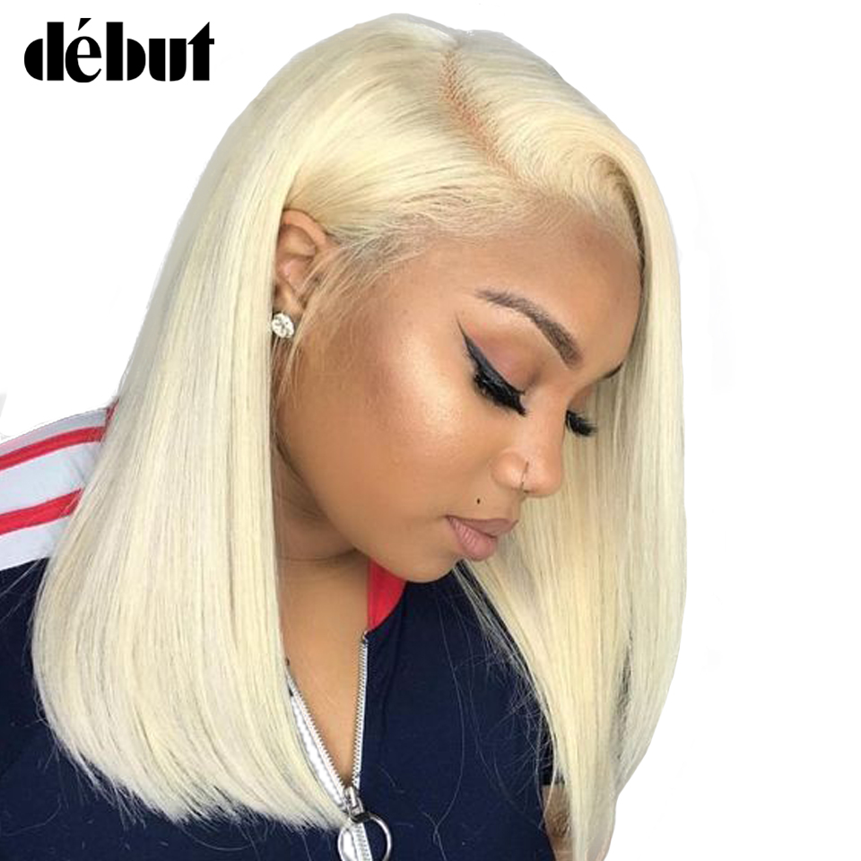 Debut Human Hair Wigs Honey Blonde 613 Lace Front Wig Brazilian Remy Straight Short Bob Wig Human Hair For Women Free Shipping image
