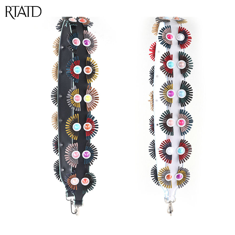 RTATD New Flowers Pu Leather Shoulder Straps Classic Fashion Strap With Studs Buckle Chic Necessary Easy Matching Bag Parts B202