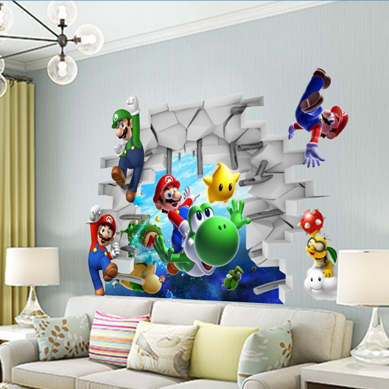 Süper Mario Bros Çocuklar Çıkarılabilir Duvar Sticker - Ev Dekoru - Fotoğraf 2