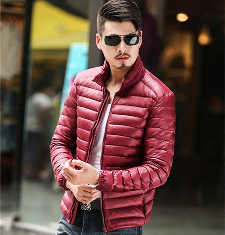 2017 autumn winter men's short slim ultra thin white down down jacket men long sleeve coat outerwear free shipping