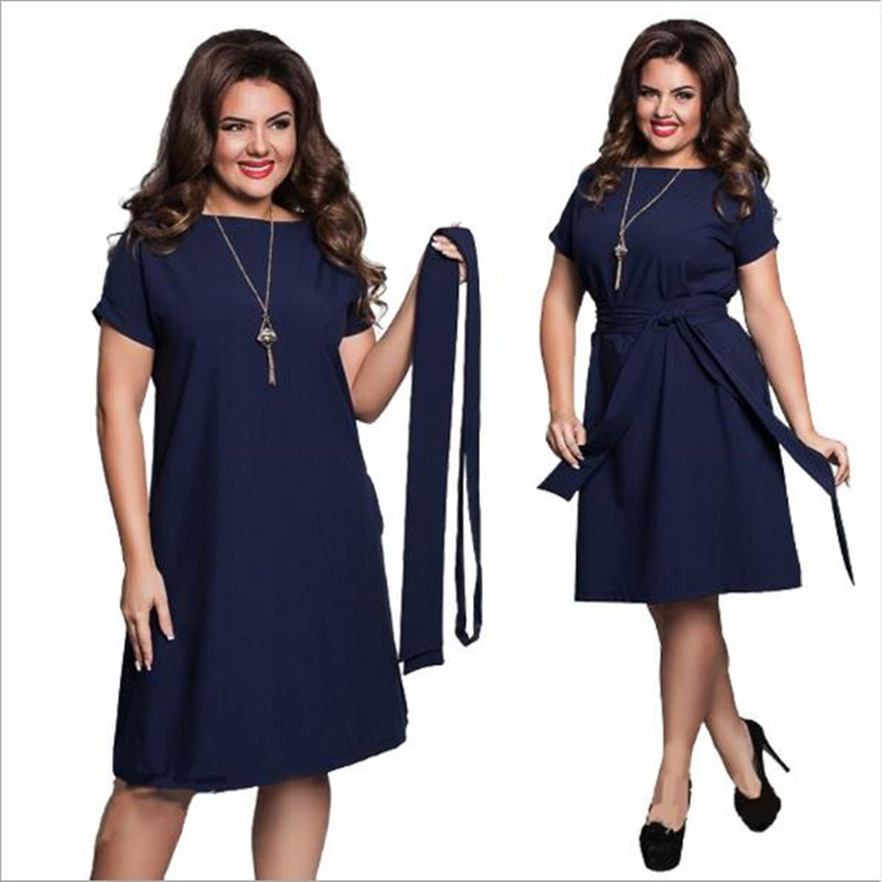 685dc37e4a2 6XL Large Size Fat MM Summer Dress Solid Color High Waist Fat Female Short  Sleeves Party Dress Plus Size Women Clothing QC822-in Dresses from Women s  ...