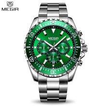 7fa9b5e6f9b Megir Chronograph Verde dos homens Dial Stainless Steel Quartz Relógios  Negócios Analgue Homem Luminosa Masculino Relógio