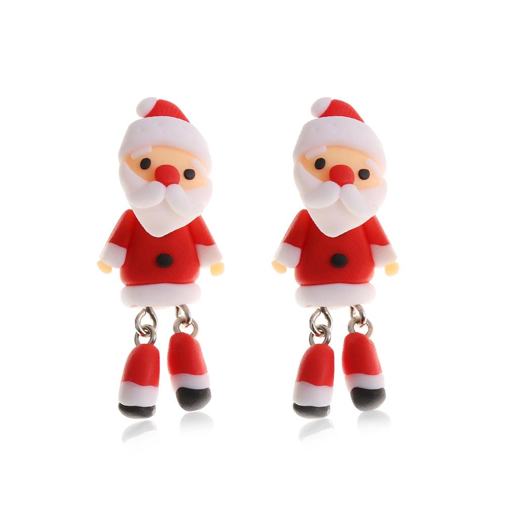 1 Pair Lovely Earring Handmade Polymer Clay Soft Santa Earrings for Women Fashion Christmas Piercing Ear Stud Jewelry