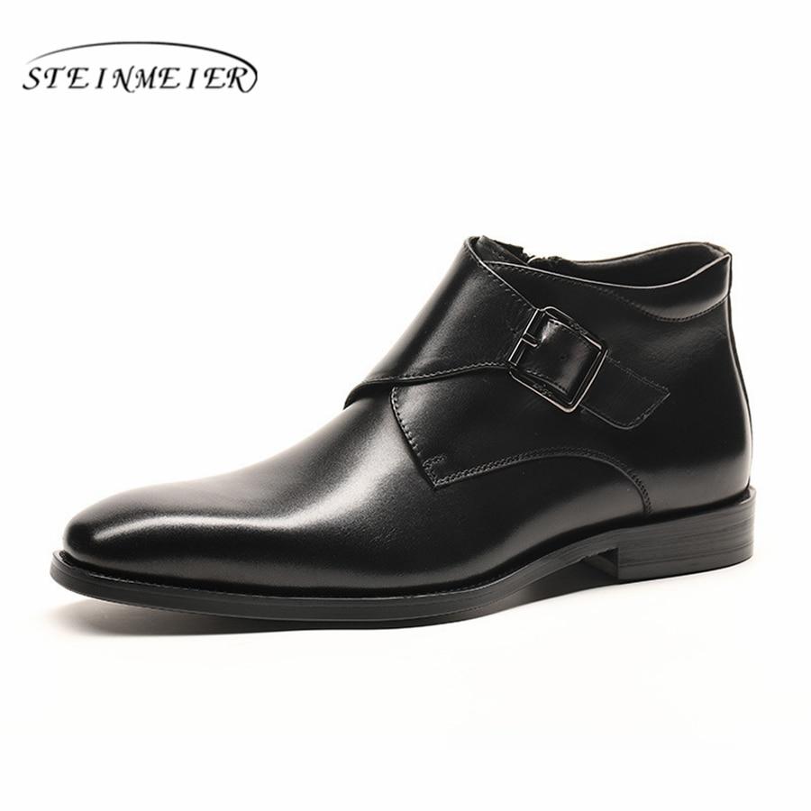 Męskie buty zimowe oryginalne skóra bydlęca chelsea buty brogue casual kostki płaskie buty wygodne jakości miękkie 2019 brązowy czarny w Podstawowe buty od Buty na  Grupa 2