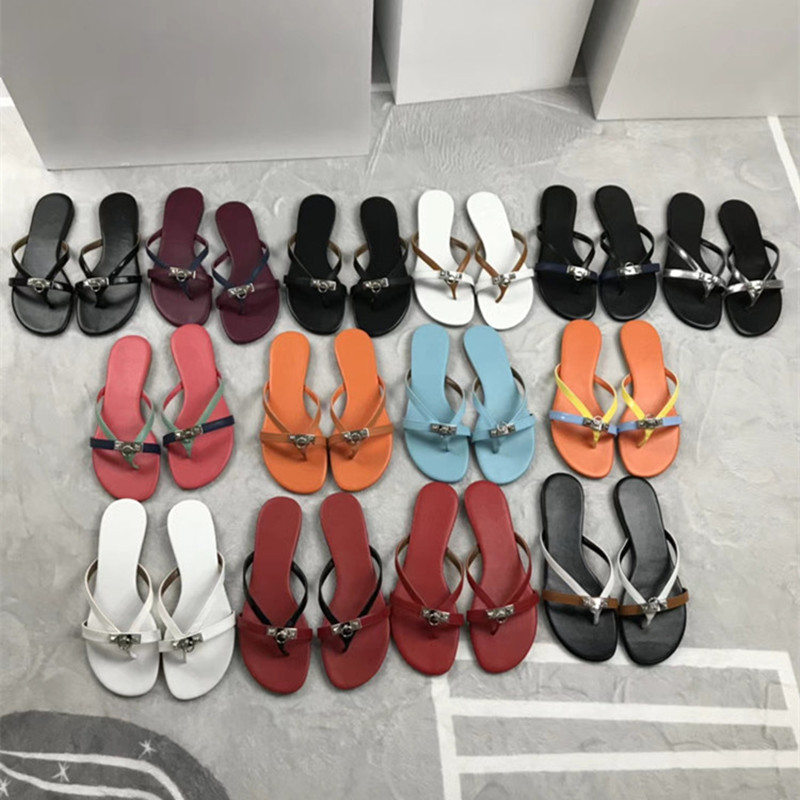 Summer Genuine Leather Flip Flops Casual Flats Women Sandals Metal Buckle Slippers Outside Summer Shoes Woman Mujer Slides